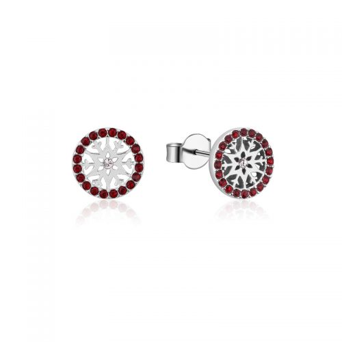 Disney Frozen Snowflake January Crystal Birthstone Stud Earrings Sterling Silver Couture Kingdom