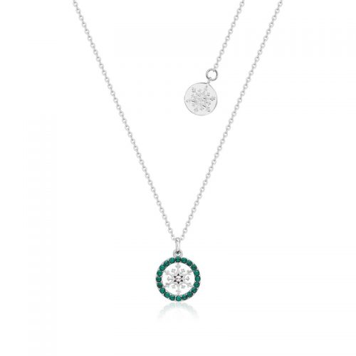 Disney Frozen Snowflake May Birthstone Crystal Necklace Sterling Silver Couture Kingdom