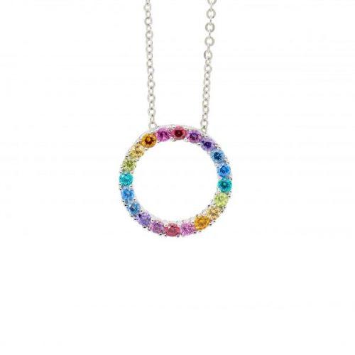 Silver Circle Spectral Coloured CZ Pendant