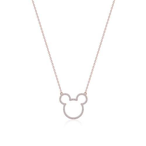 Disney Mickey Mouse Crystal Outline Sterling Silver Rose Gold Necklace Couture Kingdom