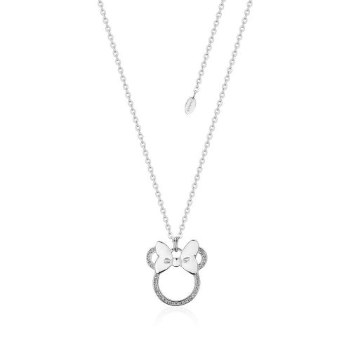 Disney Micky Mouse Crystal Outline Bow Sterling Silver Necklace Couture Kingdom