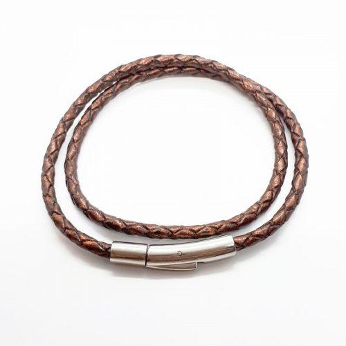Bronze Colour Braided Double Leather Bracelet