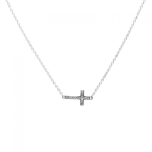 Skinny Laid Cross Necklace in Silver