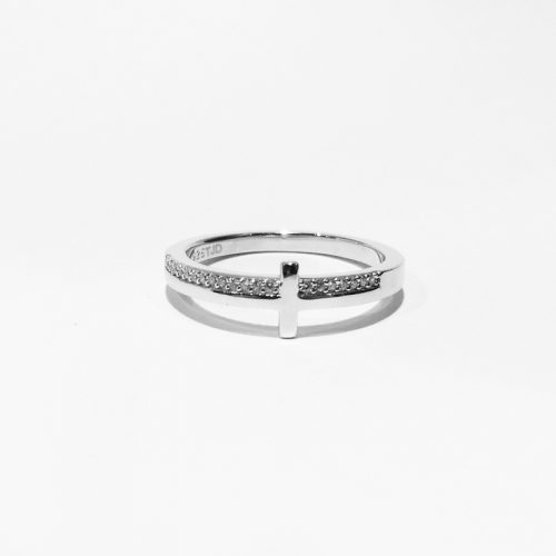 Rhodium Plated Sterling Silver CZ Cross Ring