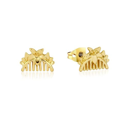 Disney Princess Mulan Comb Stud Earrings Yellow Gold Couture Kingdom DYE886