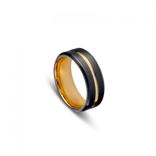 Brushed Black Stainless Steel Men's Ring
