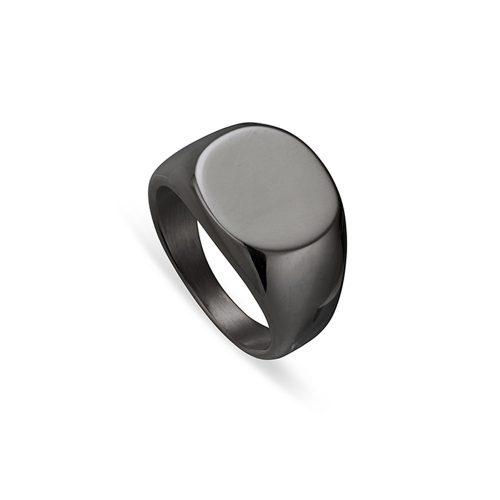 Stainless Steel Men's Black Signet Ring 2