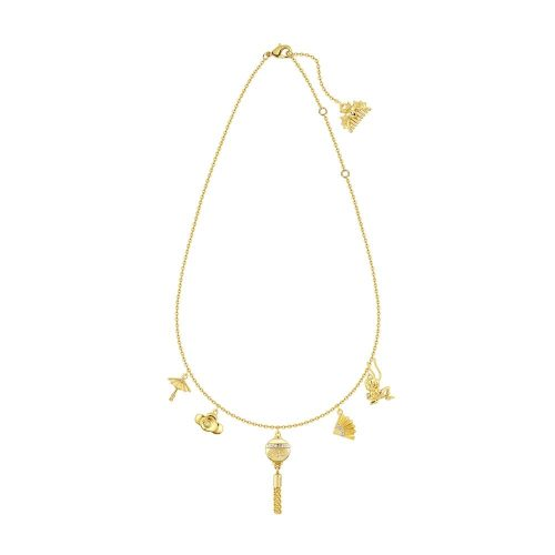 Disney princess mulan charm necklace full view yellow gold couture kingdom DYN880