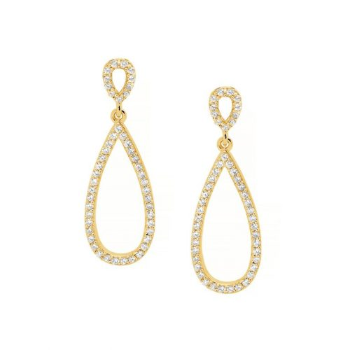 Silver CZ Open Drop Earrings Yellow Gold E385G