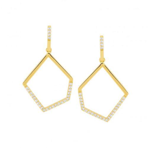 E529G Geometric Yellow Gold Drop Earrings