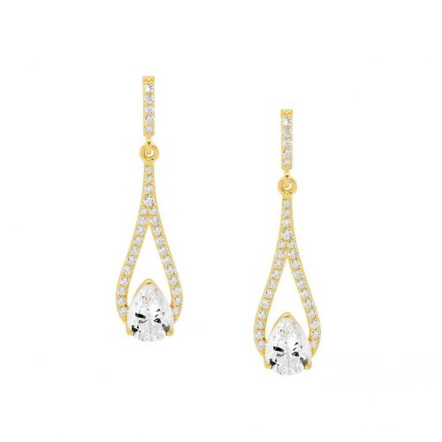 Silver CZ Drop Earrings Yellow Gold E532G