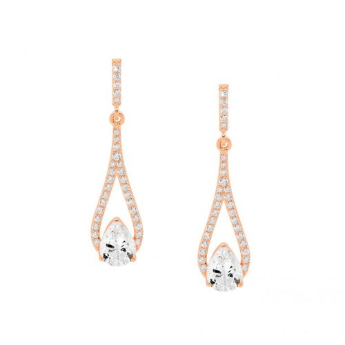 Silver CZ Drop Earrings Rose Gold E532R