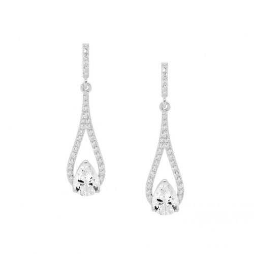 Silver CZ Drop Earrings White Gold E532S