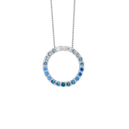 P835BL Blue Colour Silver Necklace