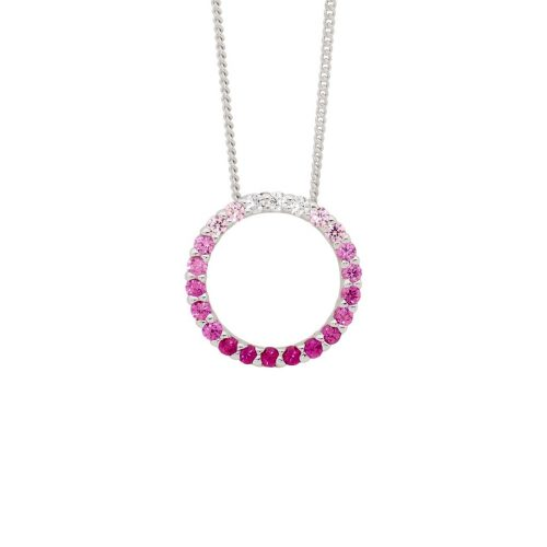 P835PK Pink Colour Silver Necklace