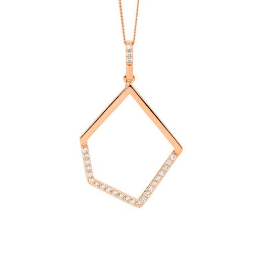 Rose gold plated silver necklace P836R