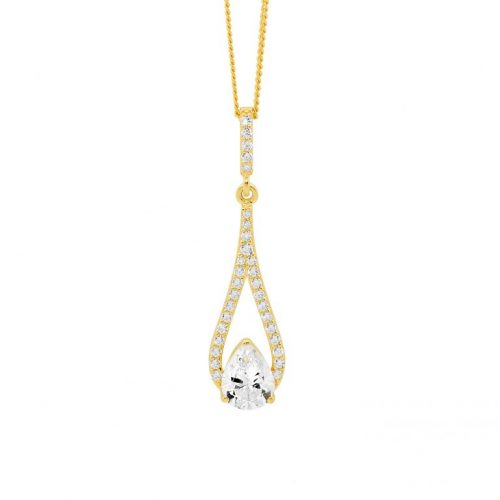 Silver CZ Drop Necklace Yellow Gold P837G