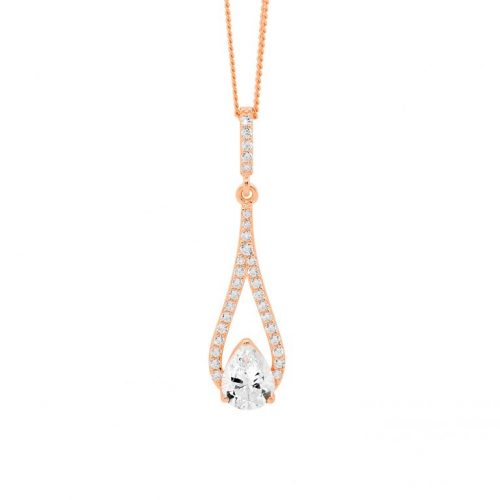 Silver CZ Drop Necklace Rose Gold P837R