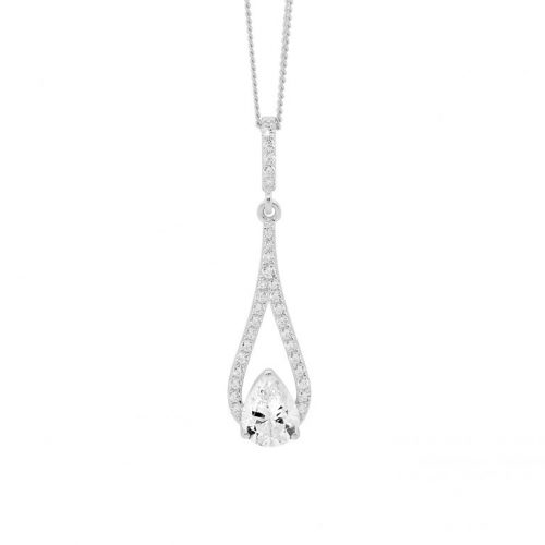 Silver CZ Drop Necklace White Gold P837S