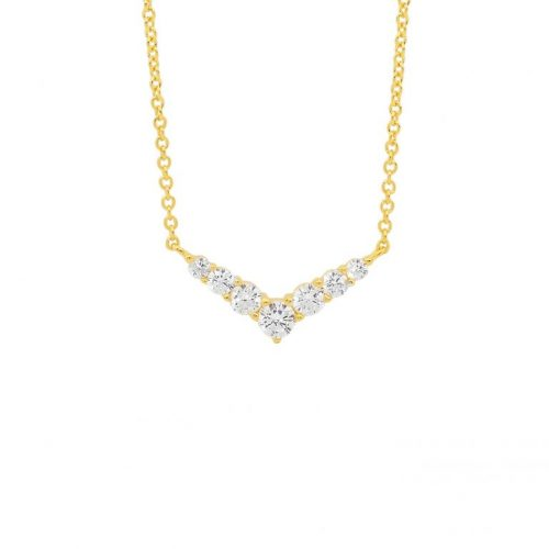 Silver CZ Arrow Head Necklace Yellow Gold P839G