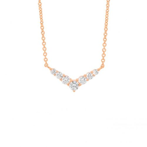Silver CZ Arrow Head Necklace Rose Gold P839R