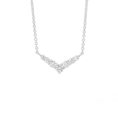 Silver CZ Arrow Head Necklace White Gold P839S