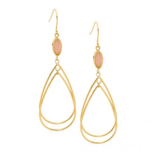 Stainless Steel Double Hooped Earrings Yellow Gold SE214G