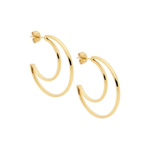 Stainless Steel Open Crescent Moon Earrings Yellow Gold SE216G