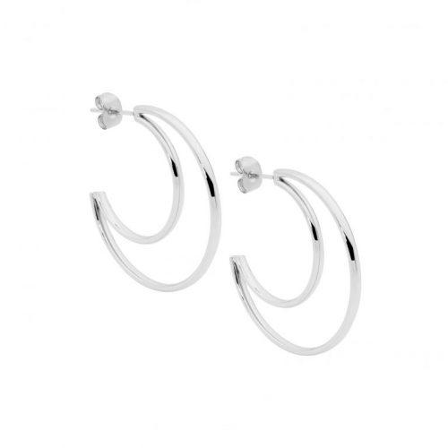 Stainless Steel Open Crescent Moon Earrings SE216S