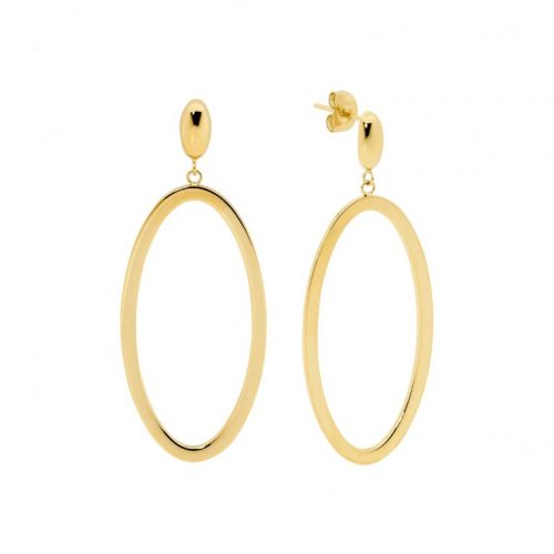 Stainless Steel Open Elips Shape Earrings Yellow Gold SE218G