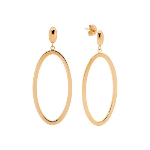 Stainless Steel Open Elips Shape Earrings Rose Gold SE218R