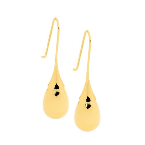 Stainless Steel High Polished Drop Earrings Yellow Gold