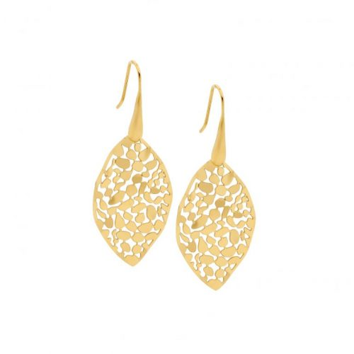 Stainless Steel Small Organic Patterned Earrings Yellow Gold SE222G