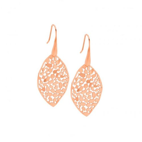 Stainless Steel Small Organic Patterned Earrings Rose Gold SE222R