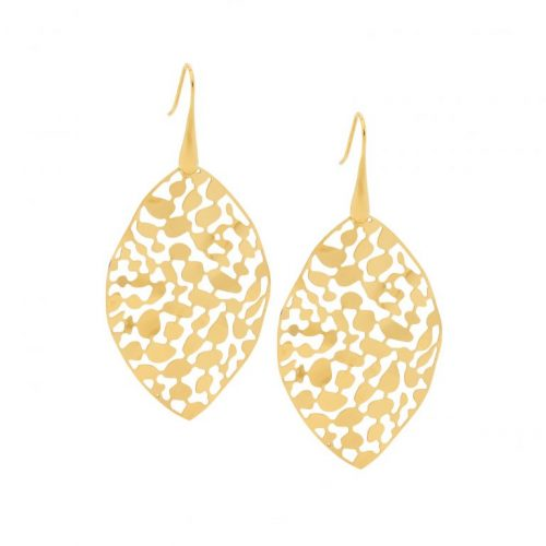 Stainless Steel Organic Patterned Earrings Yellow Gold SE223G