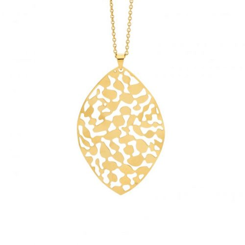 Stainless Steel Organic Patterned Necklace Yellow Gold SP119G