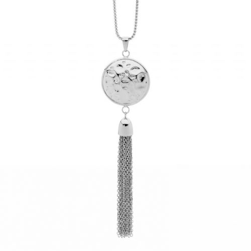 Stainless Steel Hammered Tassel Necklace SP120S