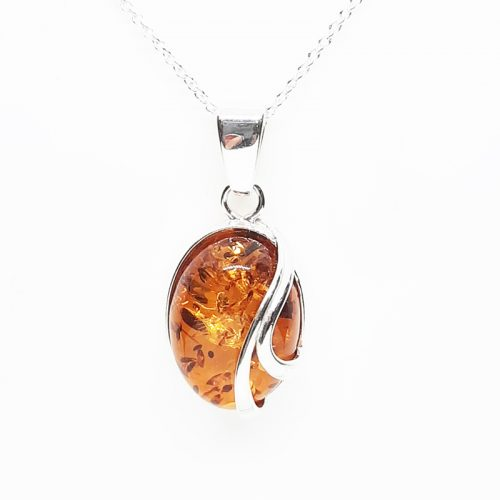 Amber silver necklace AC183