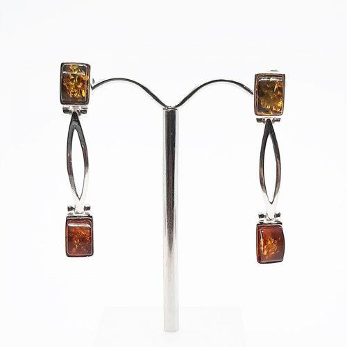 Amber silver earrings AC192
