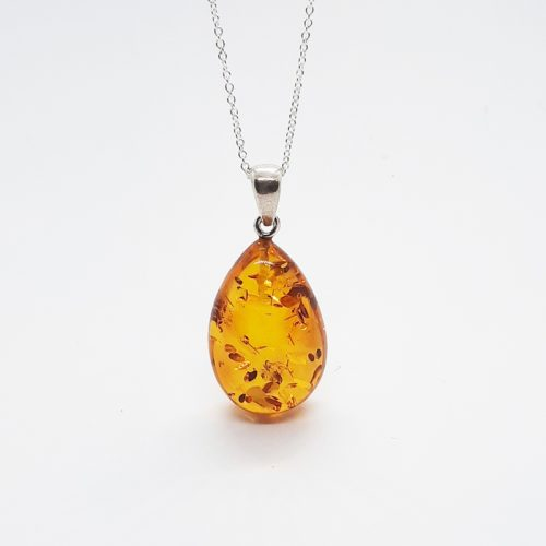 Amber silver necklace AC196