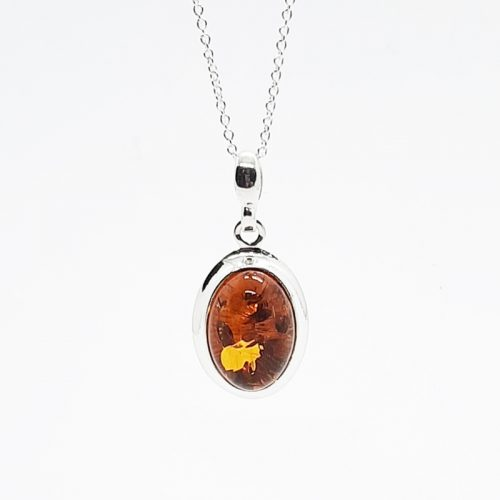 Amber silver necklace AC201