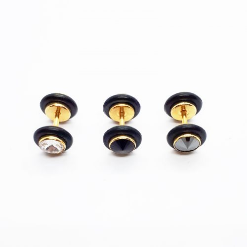 Stainless Steel Rubber Ring Double Side Crystal Earring