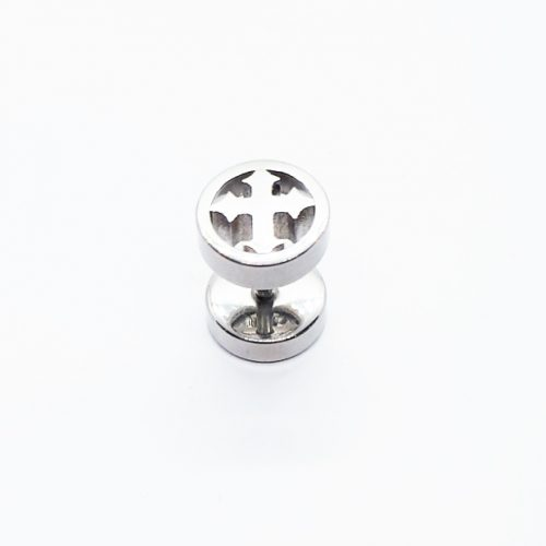 Stainless Steel Cross Circle Earring