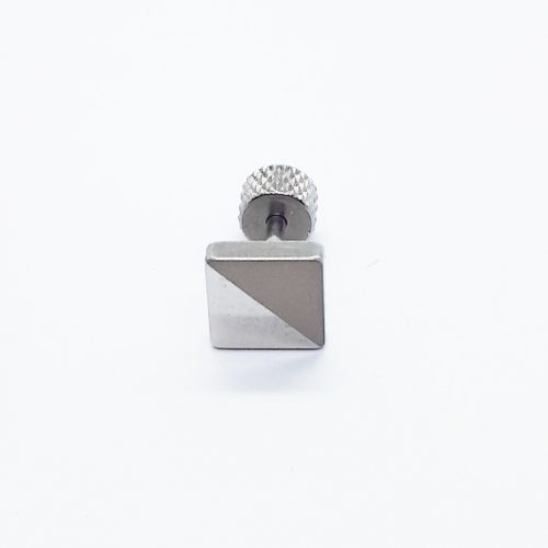Stainless Steel 7mm Square Earring ME094