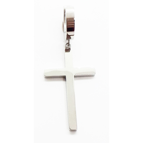 Stainless Steel Cross Drop high polished Earring