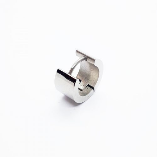 Steel Hugh Polished Wide Single Huggie Earring