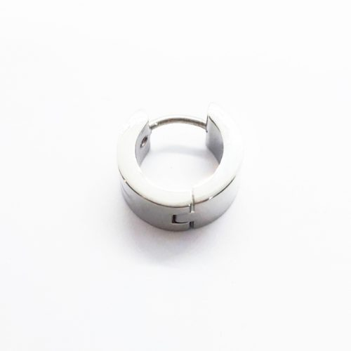 Steel Hugh Polished Wide Cross Huggie Earring