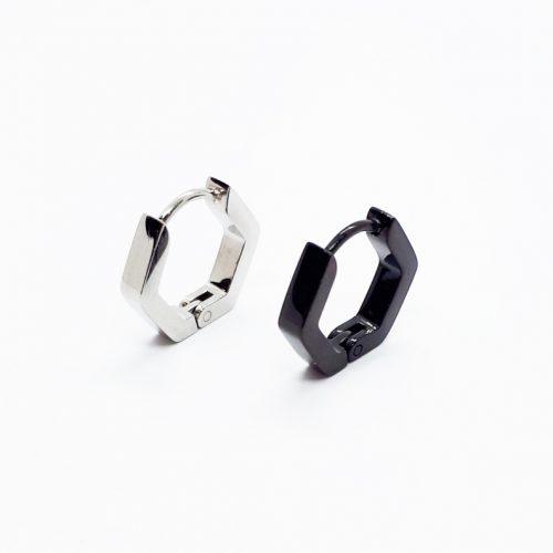 Stainless Steel Hexagon Hinge Style Single Earring