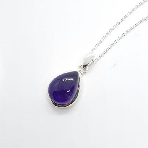 Amethyst Drop Shape Pendant Silver Necklace