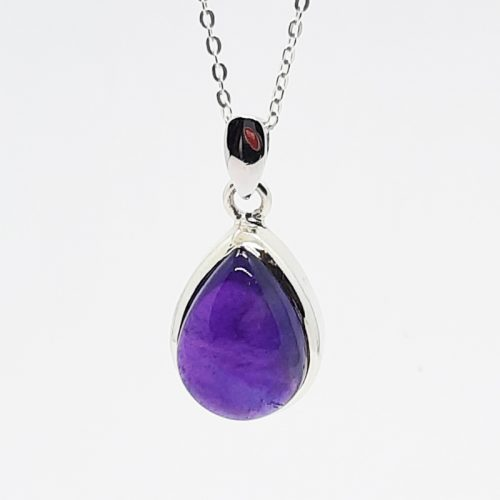 Amethyst Drop Shape Pendant Silver Necklace